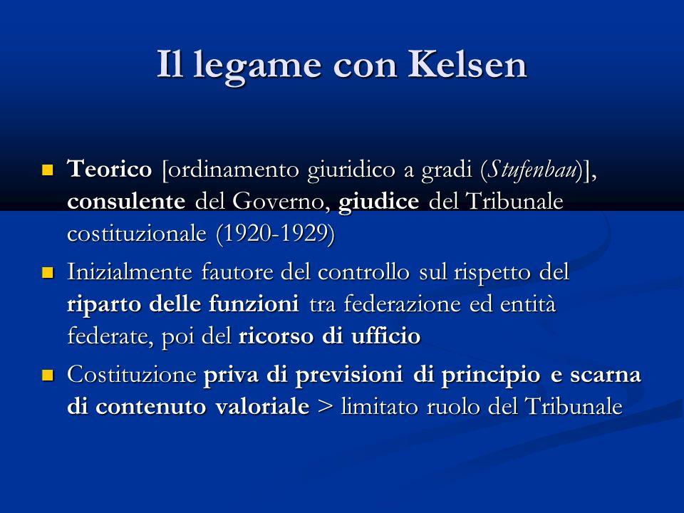 Il legame con Kelsen Teorico [ordinamento giuridico a gradi (Stufenbau)], consulente del Governo, giudice del Tribunale costituzionale (1920-1929)
